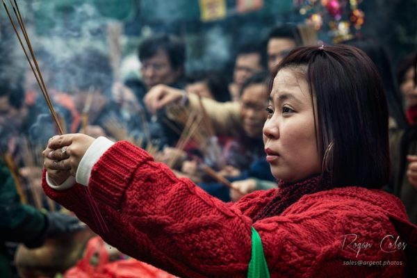 A devotee celebrating Chinese New Year in Hong Kong - 2009