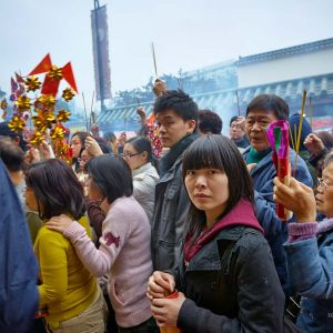 Devotees celebrating Chinese New Year in Hong Kong - 2009