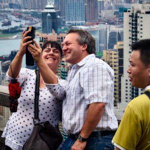 Taking selfies on Victoria Peak in Hong Kong