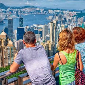 Viewing Hong Kong from Victoria Peak