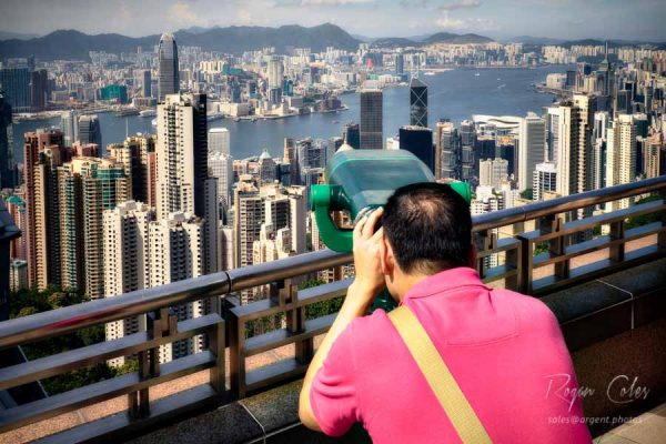 Viewing Victoria Harbour from Victoria Peak in Hong Kong