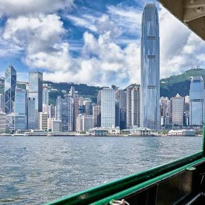 On board a Star Ferry crossing Victoria Harbour in Hong Kong