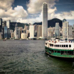 A Star Ferry heading across Victoria Harbour