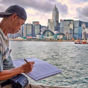 Artist at work, Tsim Sha Tsui, Hong Kong
