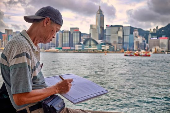 Artist at work, Tsim Sha Tsui, Hong Kong