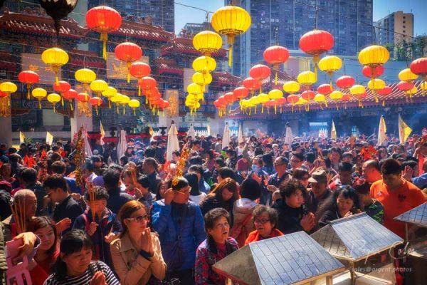 Chinese New Year being celebrated at Wong Tai Sin Temple in Hong Kong