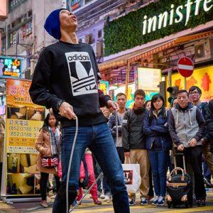 Busking on Sai Yeung Choi Street in Mongkok, Hong Kong