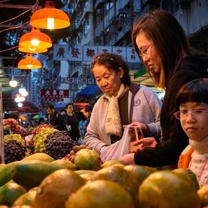 A family shopping at the Reclamation Street market in Hong Kong