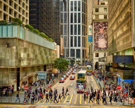 A view of Pedder Street in Hong Kong