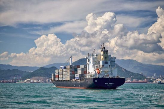Container ship at anchor off Tsing Yi, Hong Kong #3378